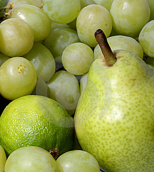 A Set Of Different Healthy And Tasty Green Fruits Stock Photos - Image: 16480353