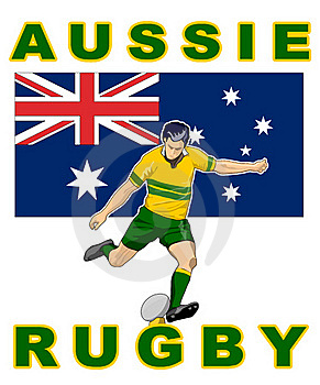Rugby Player Kick Australia Flag Stock Images - Image: 16482784