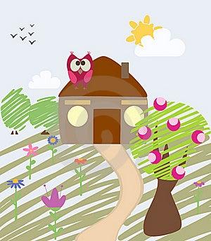 Illustration Of House And Owl Stock Photo - Image: 16485350