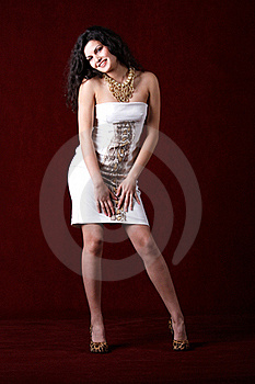 Cheerful Fashion Model Wearing Short White Dress Royalty Free Stock Image - Image: 16486326