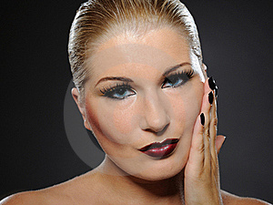 Pretty Woman Face With Perfect Lips And Black Nail Stock Photo - Image: 16489190