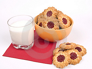 Bowl Of Cookies With Glass Of Milk Stock Images - Image: 16489994