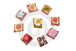 Varied Sweet And Savory Sandwiches Royalty Free Stock Photography - Image: 16490847
