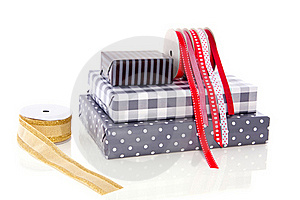 Gifts Ribbons And Wrappingpaper Stock Image - Image: 16491461