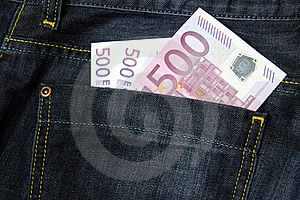 500 Euro Banknotes In A Jeans Pocket Royalty Free Stock Image - Image: 16491486