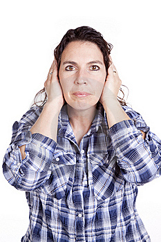 Woman Expression Blue Hands Ears Stock Photos - Image: 16493623