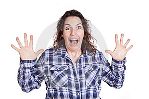 Woman Expression Blue Surprised Royalty Free Stock Photography - Image: 16493737
