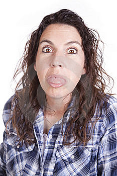 Woman Expression Blue Tongue Out. Royalty Free Stock Photos - Image: 16493778