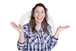 Woman Expression Happy Hands Up Royalty Free Stock Photography - Image: 16493807