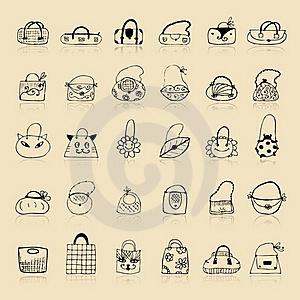Collection Of Bags, Sketch Drawing For Your Design Royalty Free Stock Photo - Image: 16494215