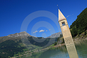 Passo Resia - Curon Bell Tower Stock Images - Image: 16496364