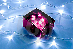Gift Box And Garland Lights Royalty Free Stock Photo - Image: 16497445