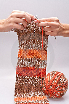 Woman's Hand Knit Knitting Yarn Royalty Free Stock Photos - Image: 16497988