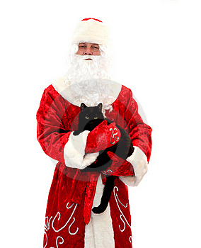 Santa Claus And The Black Cat Stock Images - Image: 16498034