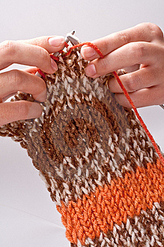 Woman's Hand Knit Knitting Yarn Stock Images - Image: 16498044
