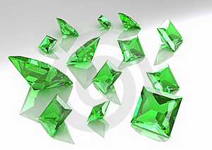 Set Of Square Green Topaz Stones - 3D Royalty Free Stock Image - Image: 16498096