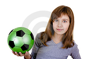 A Little Girl With The Ball Royalty Free Stock Photography - Image: 16502727
