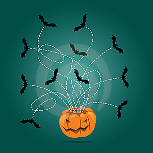 Halloween Carved Pumpkin And Flying Bats Royalty Free Stock Photo - Image: 16507685