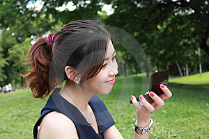 Young Adult Woman Look Mirror Stock Image - Image: 16511711