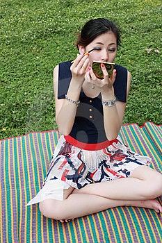 Young Woman Applying Mascara Royalty Free Stock Images - Image: 16511729