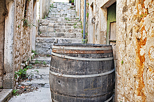 Cedar Barrel In A Narrow Street Stock Images - Image: 16512654