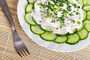 Fresh Cucumber Slices With Sour Cream Royalty Free Stock Photos - Image: 16513298