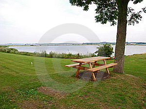 Outdoors Picnic Tables By The Sea Royalty Free Stock Photo - Image: 16514675