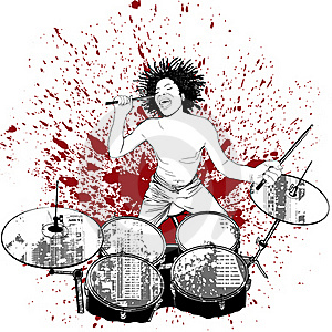Drummer On Grunge Background Stock Images - Image: 16516054