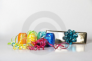 Set Of Colourful Ribbons And A Christmas  Gift Royalty Free Stock Image - Image: 16520906