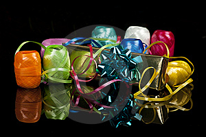 Set Of Colourful Ribbons And A Christmas  Gift Stock Photography - Image: 16520922