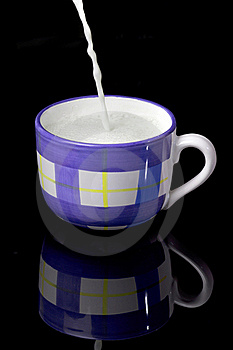 Fresh Milk With Foam  Being Poured To The  Cup Stock Photography - Image: 16520992