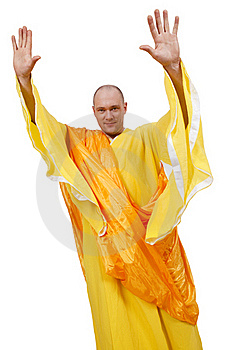 Monk With Open Raised Palms Stock Photo - Image: 16524450