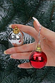 Hand Holding Christmas Balls Stock Image - Image: 16528341