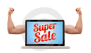 Laptop With Super Sale Sign And Muscular Biceps Royalty Free Stock Photos - Image: 16529248
