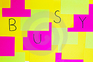 Busy Colorful Reminder Note Royalty Free Stock Image - Image: 16530406
