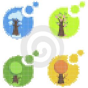Mosaic Seasonal Icons Stock Images - Image: 16536334