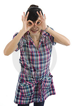 Woman Pretending To Wear Glasses Stock Image - Image: 16537551