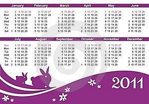 2011 Calendar (starts Sunday) Stock Photo - Image: 16539090