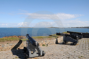 Cannons At Portelet Harbour, Guernsey Stock Photo - Image: 16539300