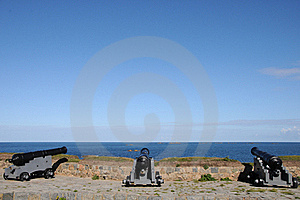 Cannons At Portelet Harbour, Guernsey Stock Photography - Image: 16539322