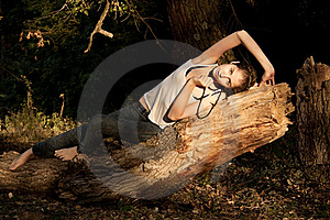 Young Gir In  Forest Royalty Free Stock Photo - Image: 16544075