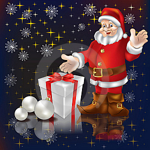 Santa Claus With Gifts On A Black Stock Photos - Image: 16546483