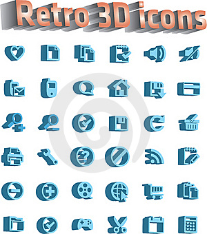 Universal Icon Set - Retro 3d Icons Stock Images - Image: 16547744