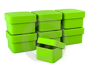 Green Blank Boxes Royalty Free Stock Photography - Image: 16554617