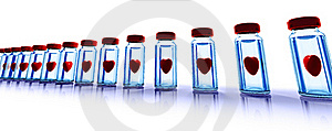 Medical Bottles With Red Hearts Stock Photography - Image: 16558872