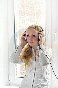 The Girl With Ear-phones Stock Image - Image: 16559611