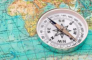 Compass On A Card Stock Photos - Image: 16562553