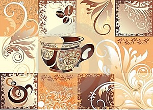 Vector Coffee Background With Butterfly Royalty Free Stock Photos - Image: 16562948