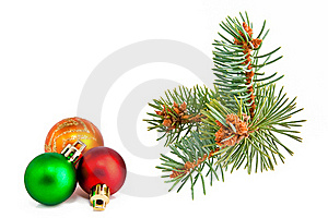 Christmas Balls And Pine-tree Royalty Free Stock Photography - Image: 16563757