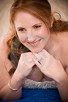 Just Married Bride Laying Down With Cleavage Seen Stock Photo - Image: 16564500